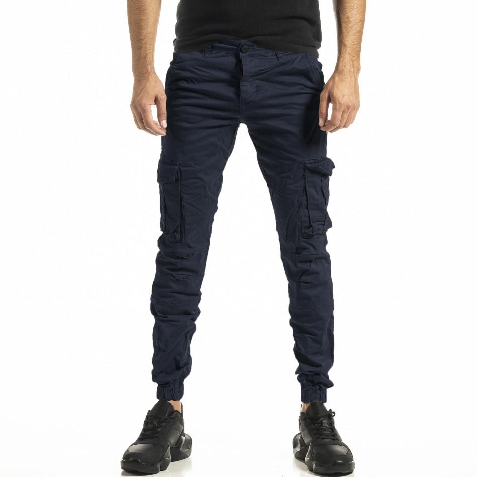 Мъжки син карго панталон с ластик на крачолите tr161020-1