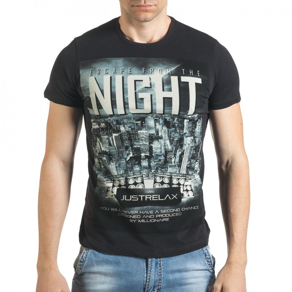Черна мъжка тениска с голяма щампа отпред il140416-38