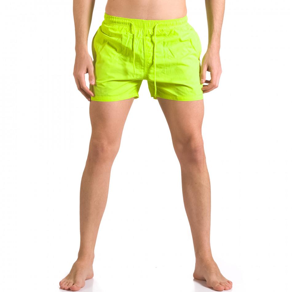 Мъжки неоново зелени бански с бандаж тип шорти ca050416-3