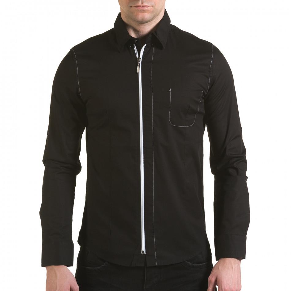 Мъжка черна риза с цип il170216-92
