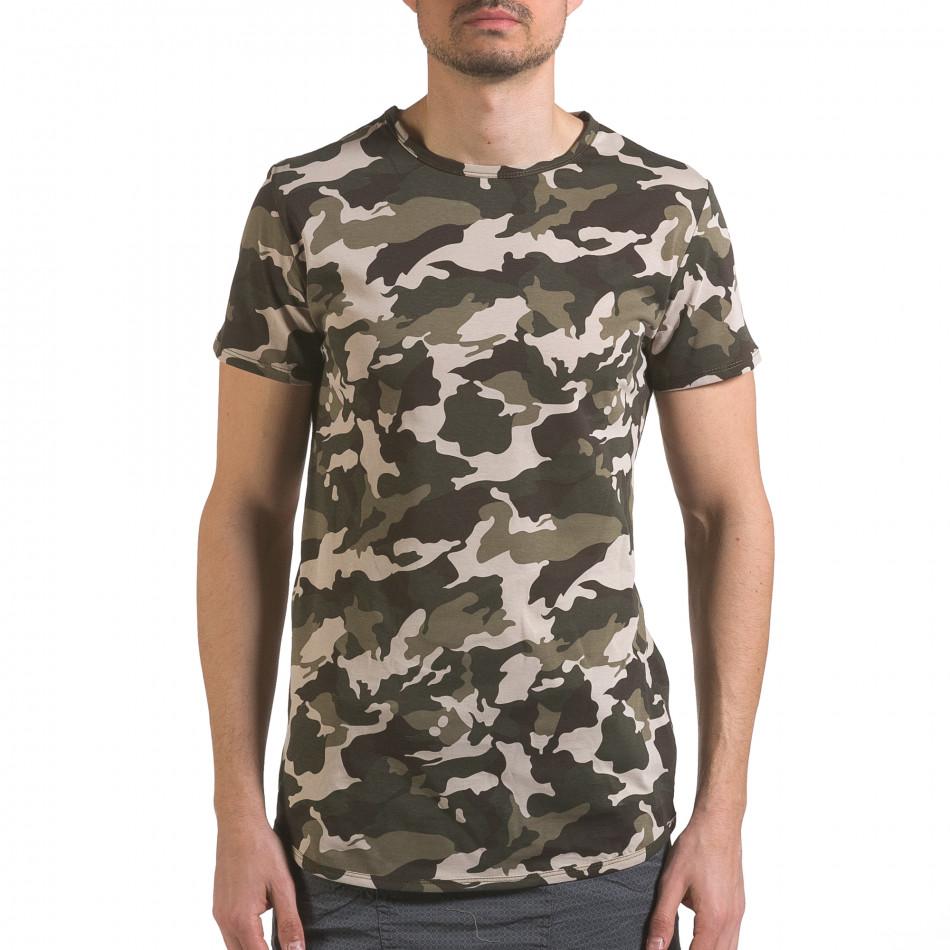 Мъжка тениска кафяво-зелен камуфлаж it110316-95