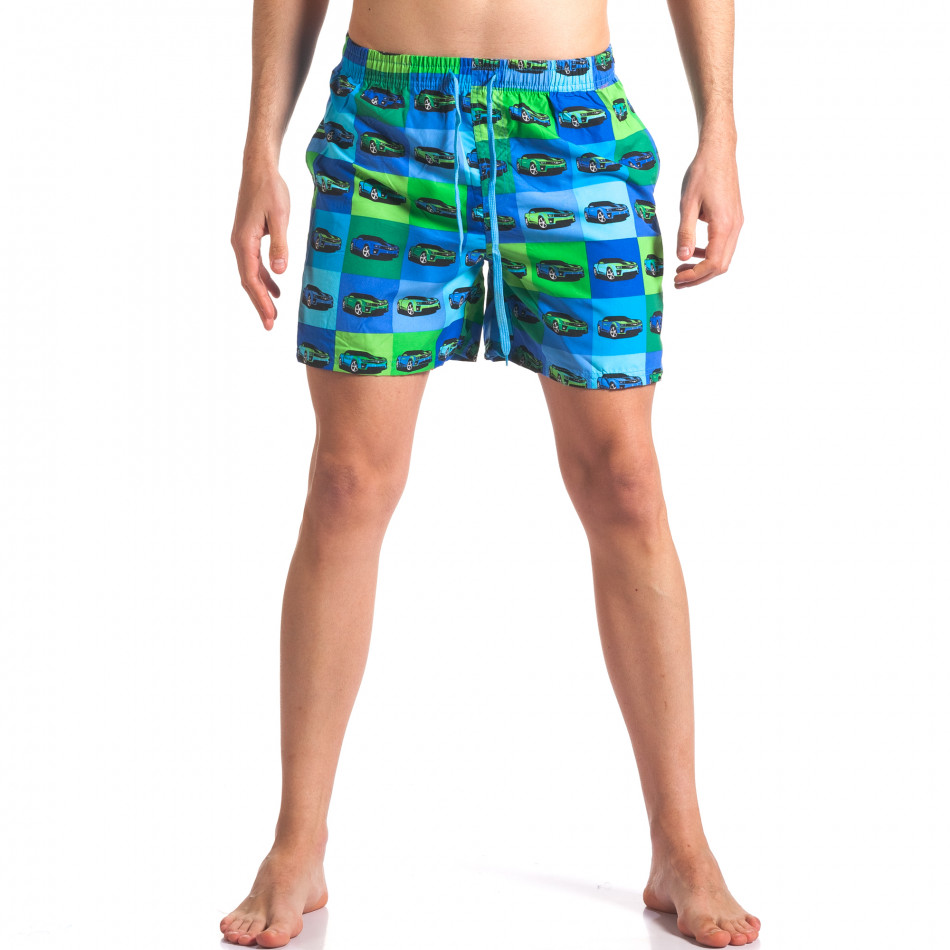 Синьо-зелени мъжки бански с принт колички it260416-43