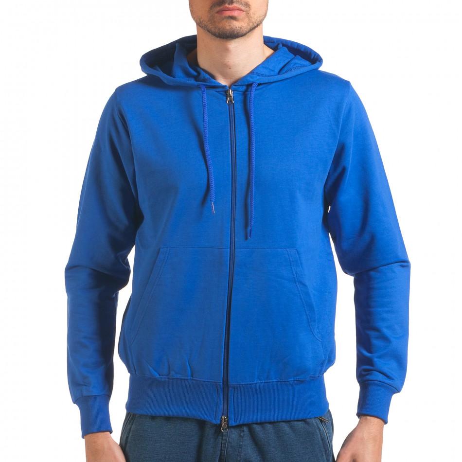 Светло син мъжки суичър с цип отпред it250416-97