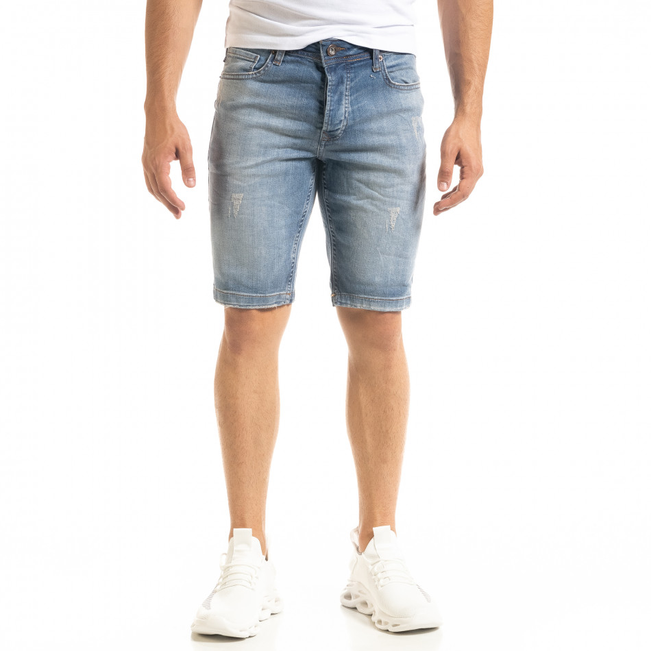 Мъжки сини къси дънки избелял ефект tr140520-4