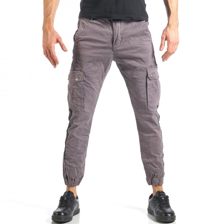 Мъжки сив карго панталон с ленти отстрани it290118-12