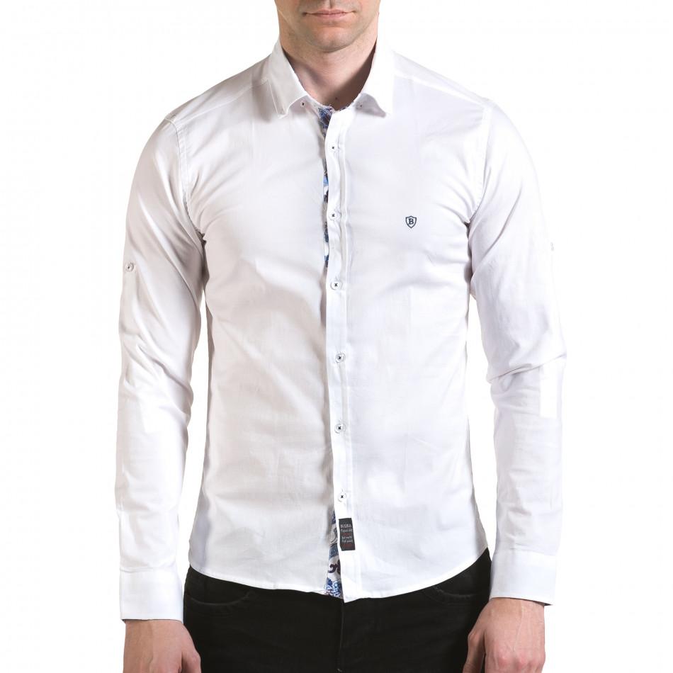 Мъжка бяла риза с лого на гърдите il170216-105