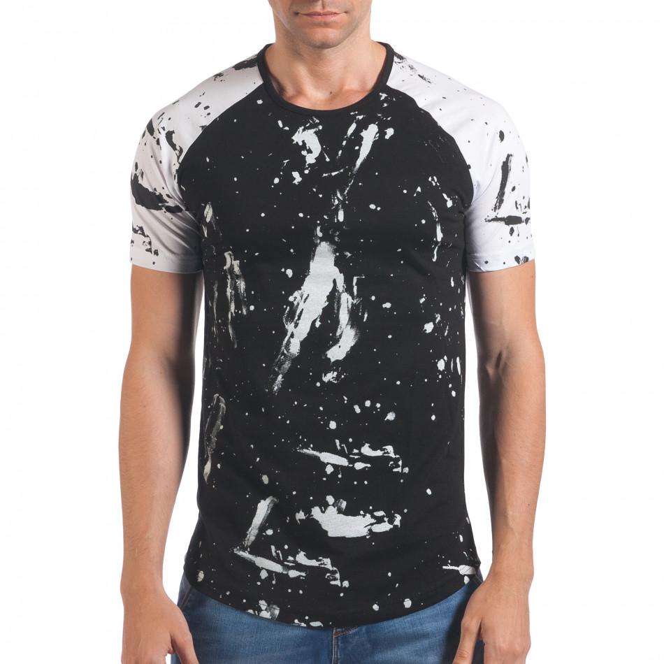Мъжка черна тениска с бели ръкави il060616-77