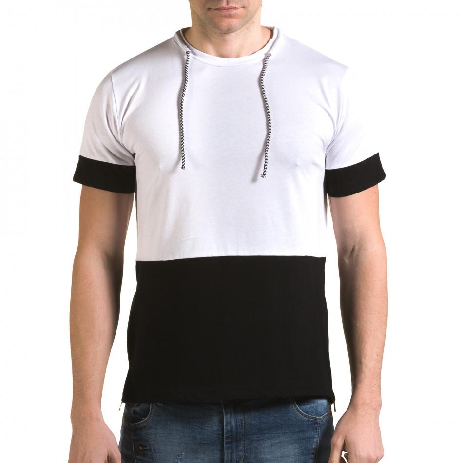 Мъжка бяла тениска с черна долна част it090216-70