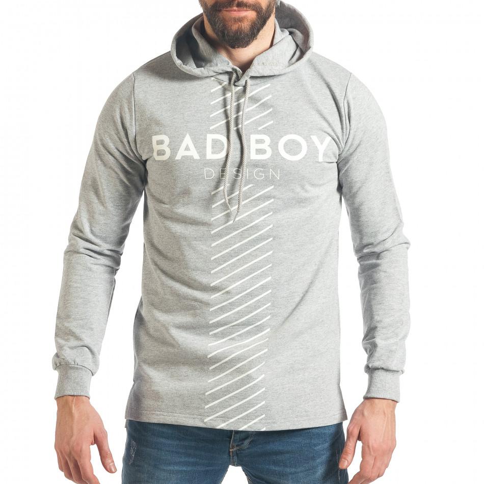 Мъжки сив суичър с голям надпис Bad Boy it290118-95