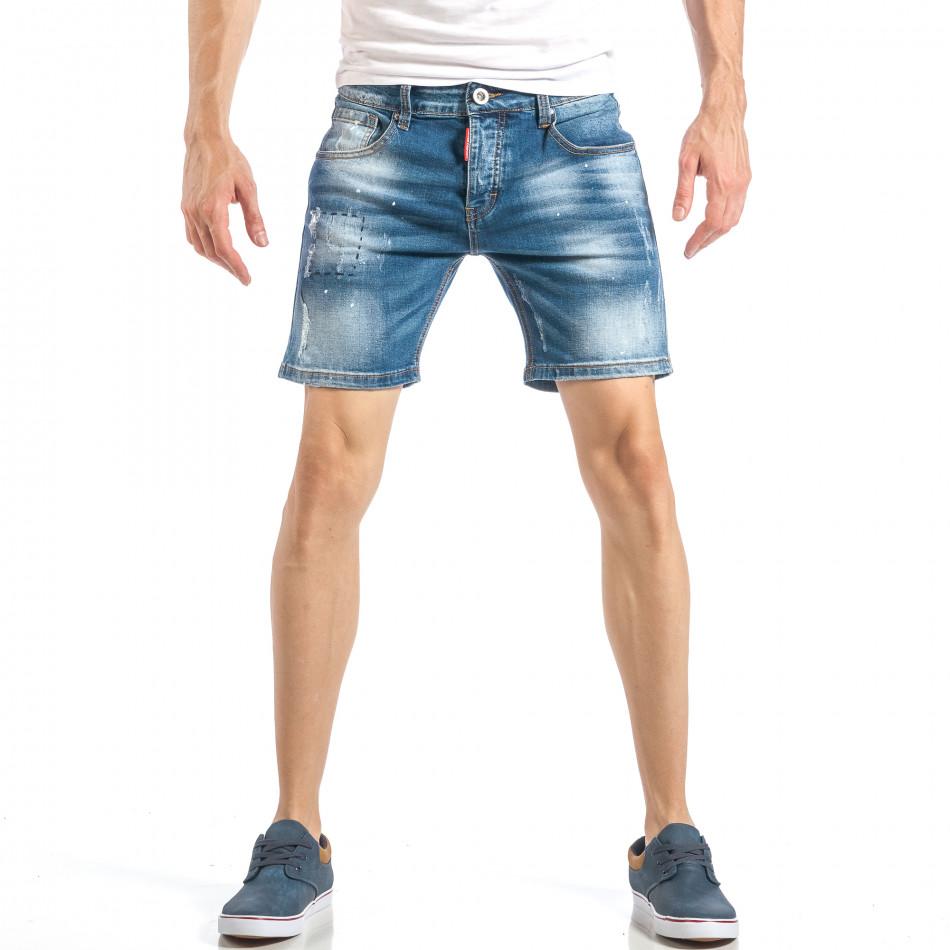 Къси мъжки дънки в синьо с декоративен ръчен шев it040518-82