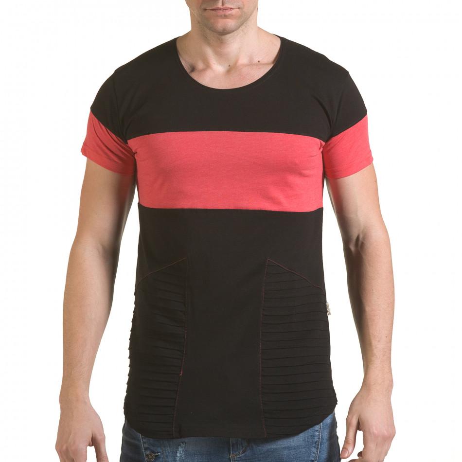 Мъжка черна тениска с розова лента il170216-76