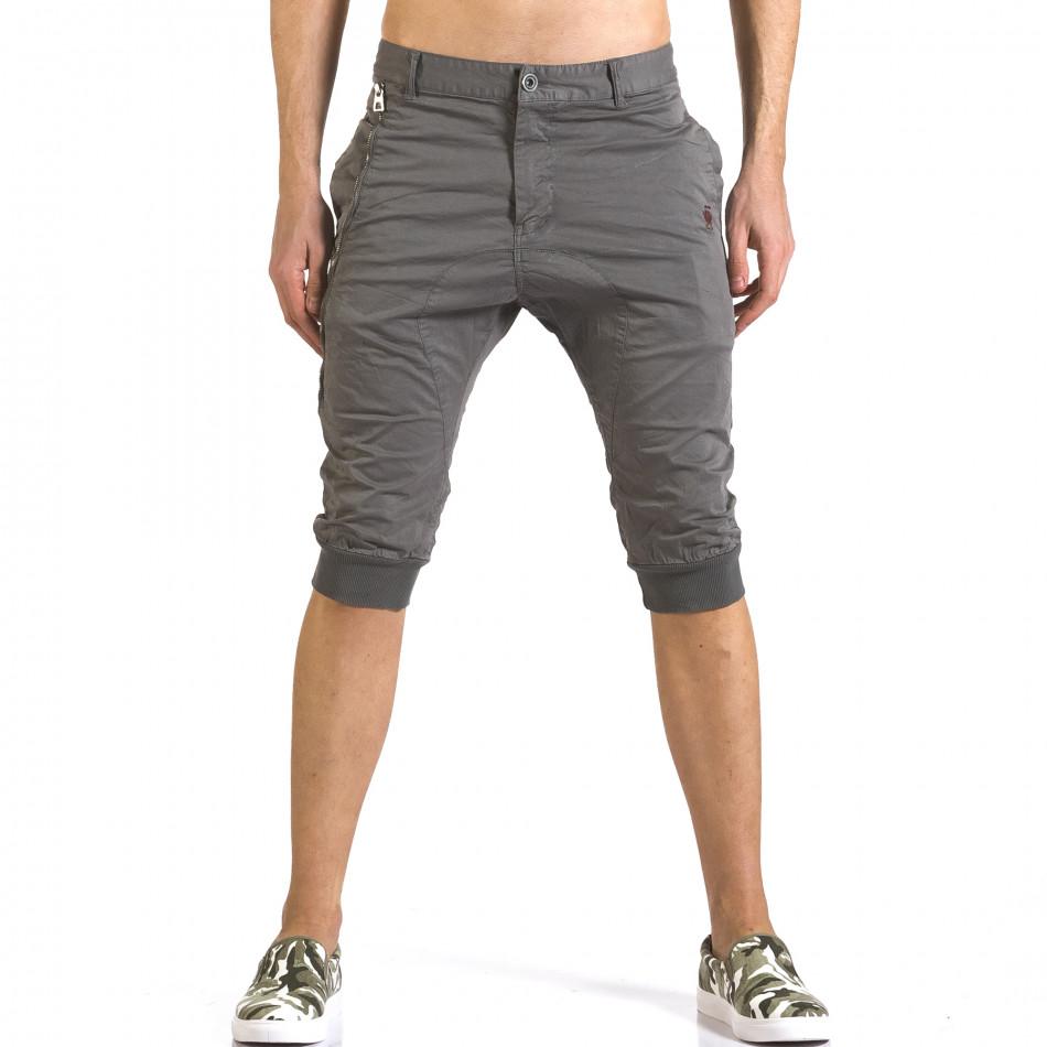 Мъжки сиви къси панталони тип потури it110316-51