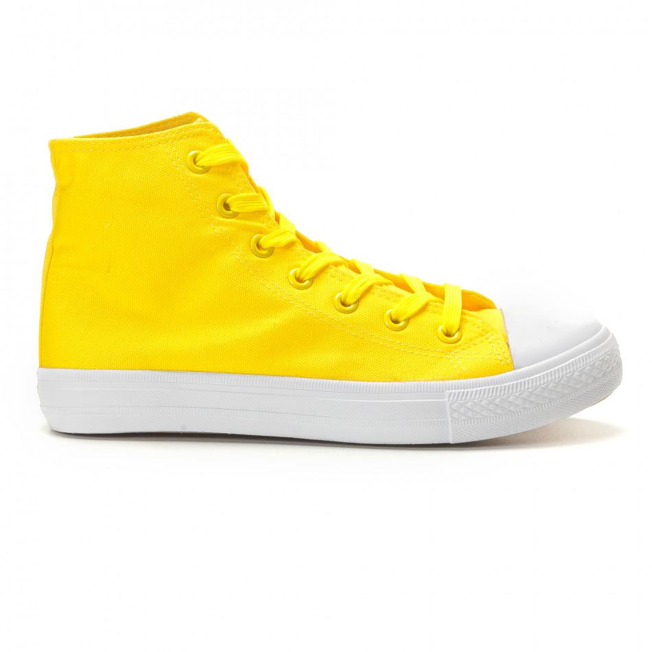 Мъжки жълти високи кецове изчистен модел it260117-51