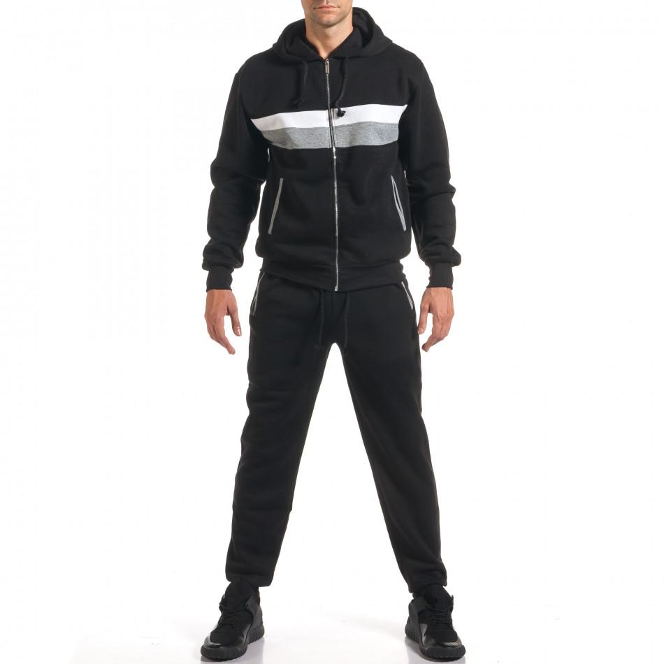 Мъжки черен спортен комплект с бяла и сива лента it160916-67