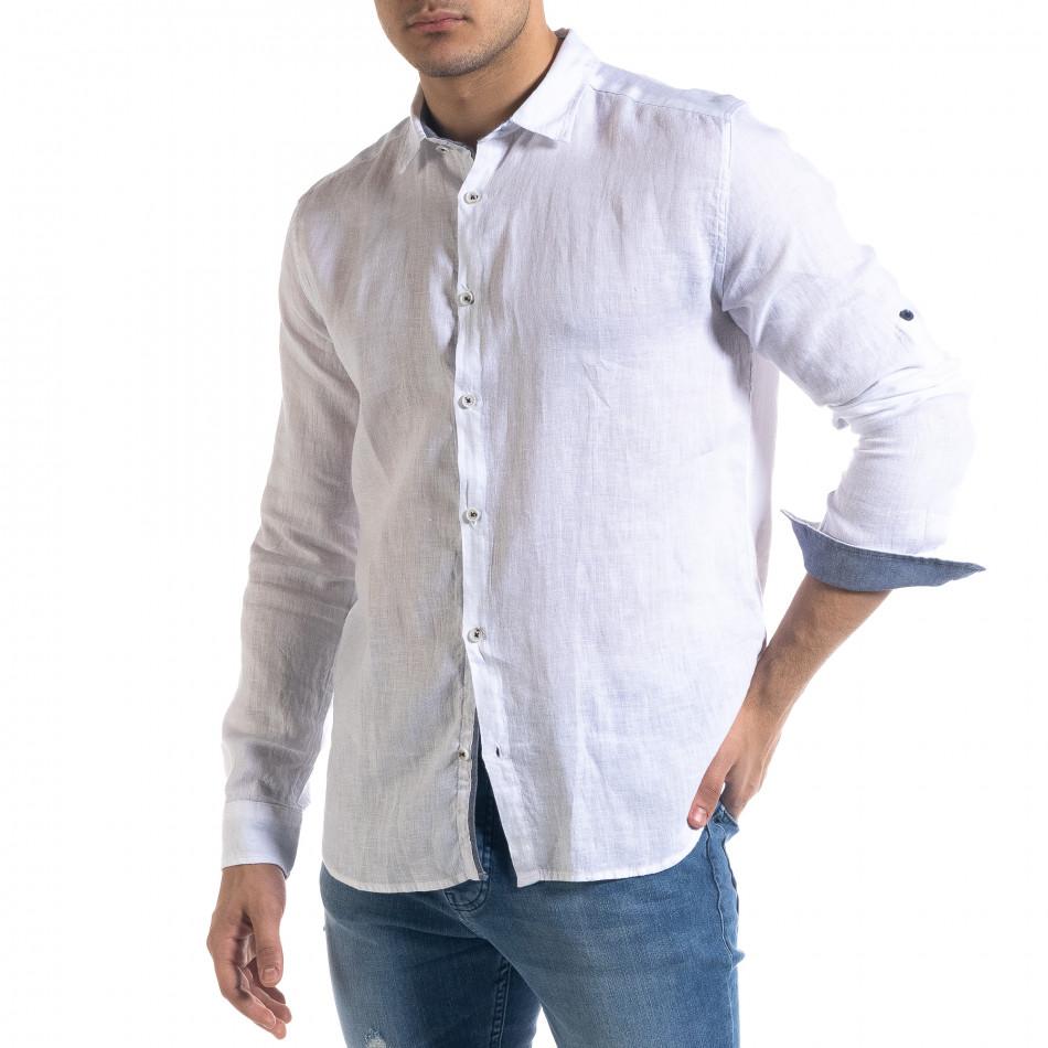 Ленена мъжка риза в бяло tr110320-94