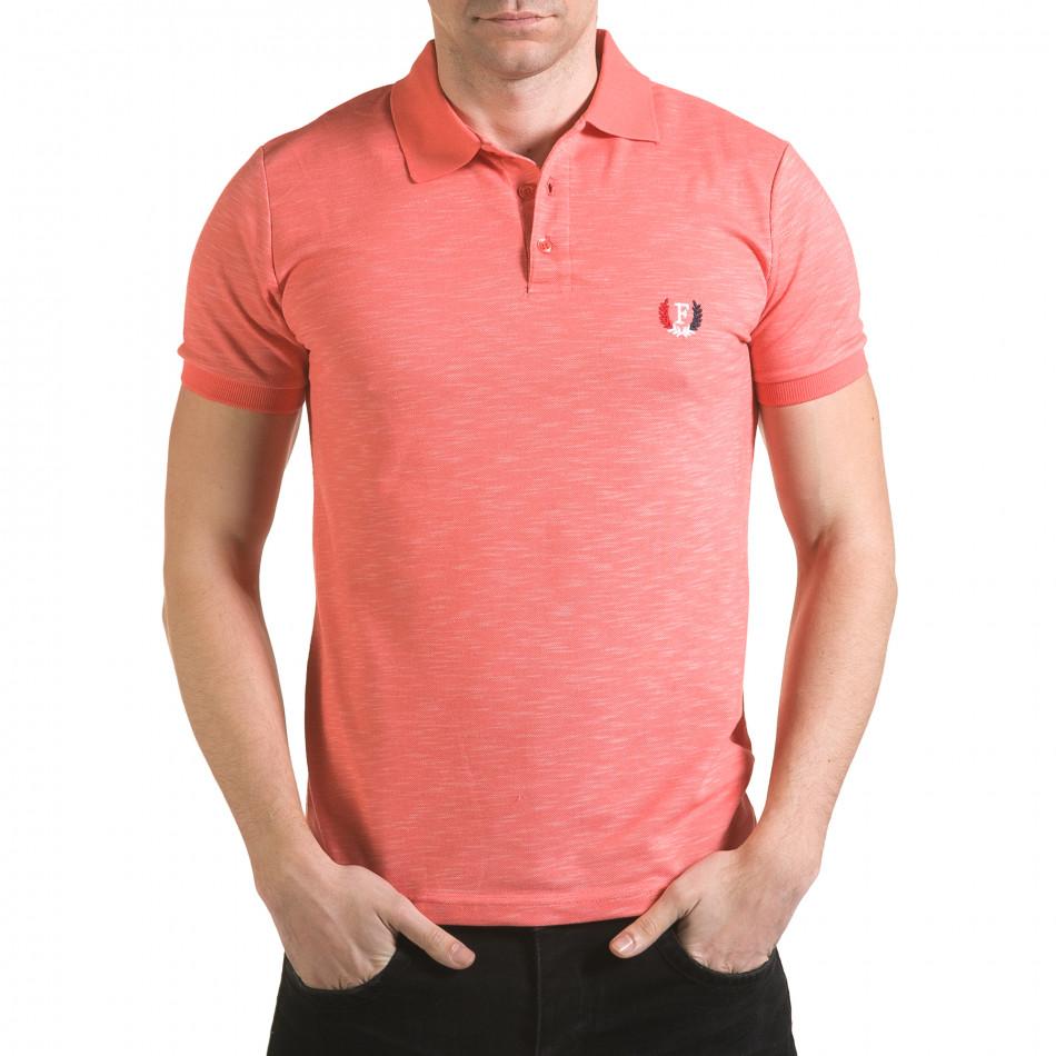 Мъжка розова тениска с яка с лого il170216-39