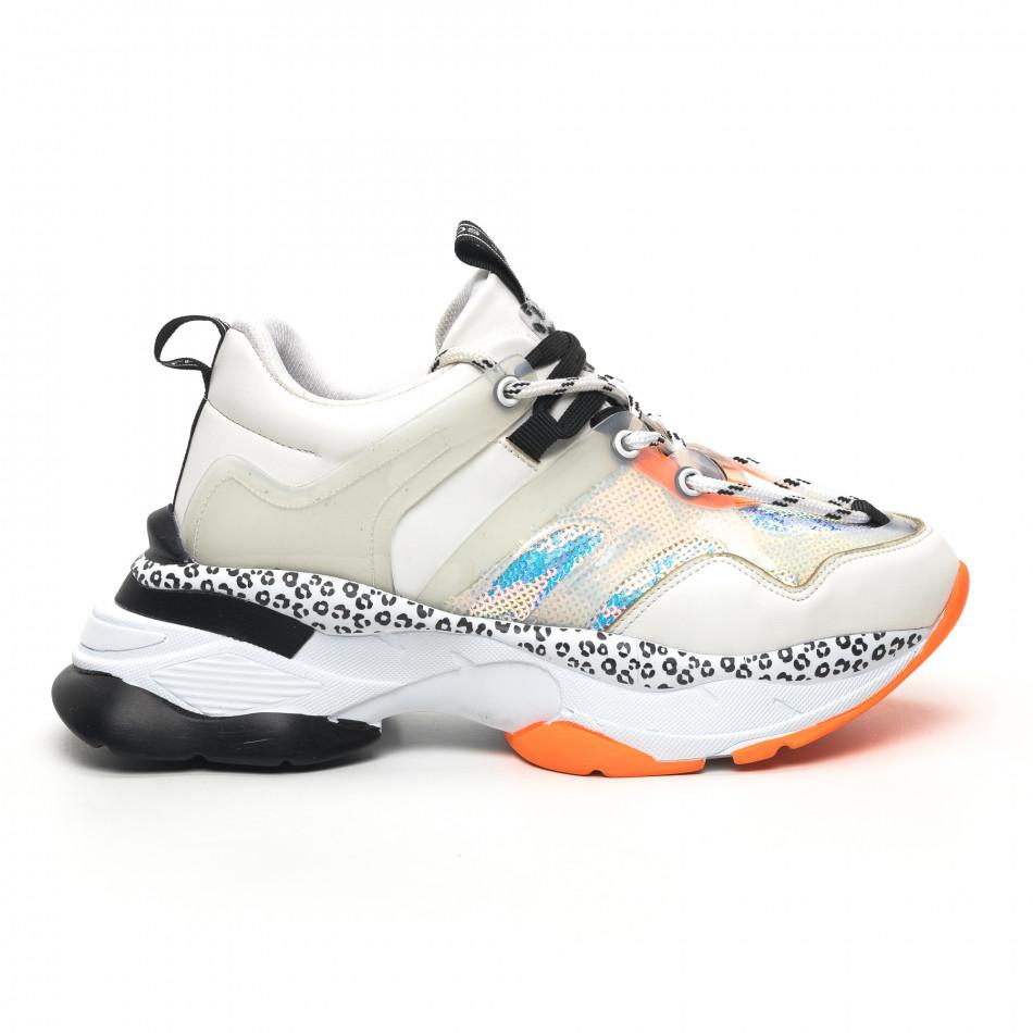 Chunky дамски маратонки в бяло акценти Mix tr180320-13