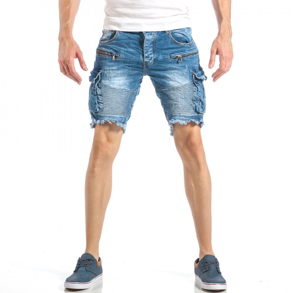 Мъжки рокерски къси дънки в синьо с карго джобове it040518-71