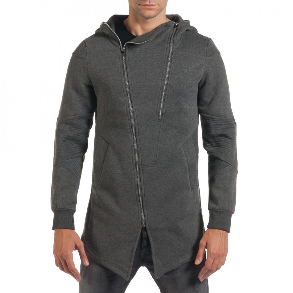 Мъжки сив суичър с асиметрична кройка it200916-1