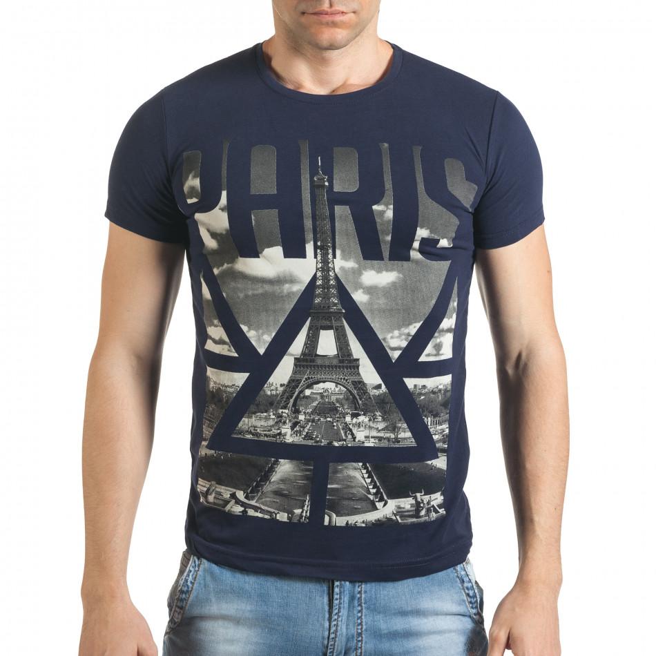 Мъжка синя тениска с яка щампа отпред il140416-41