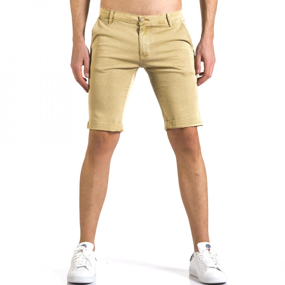 Мъжки жълти къси панталони с малки ромбчета it110316-45
