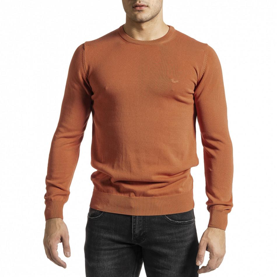 Фин памучен мъжки оранжев пуловер tr231220-3