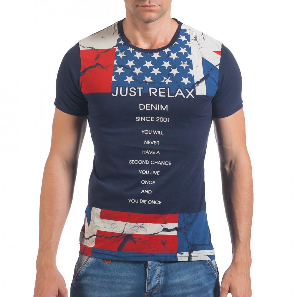 Мъжка синя тениска с Американското знаме il060616-13