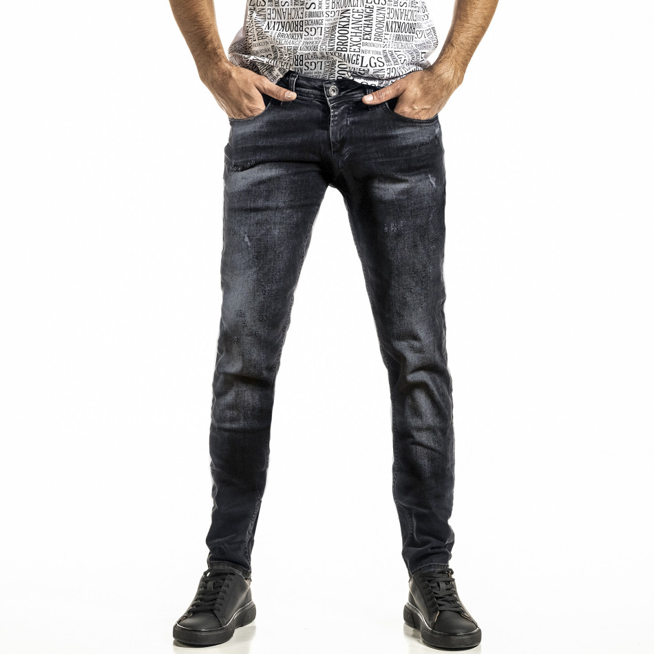 Washed Slim fit мъжки черни дънки tr030420-6