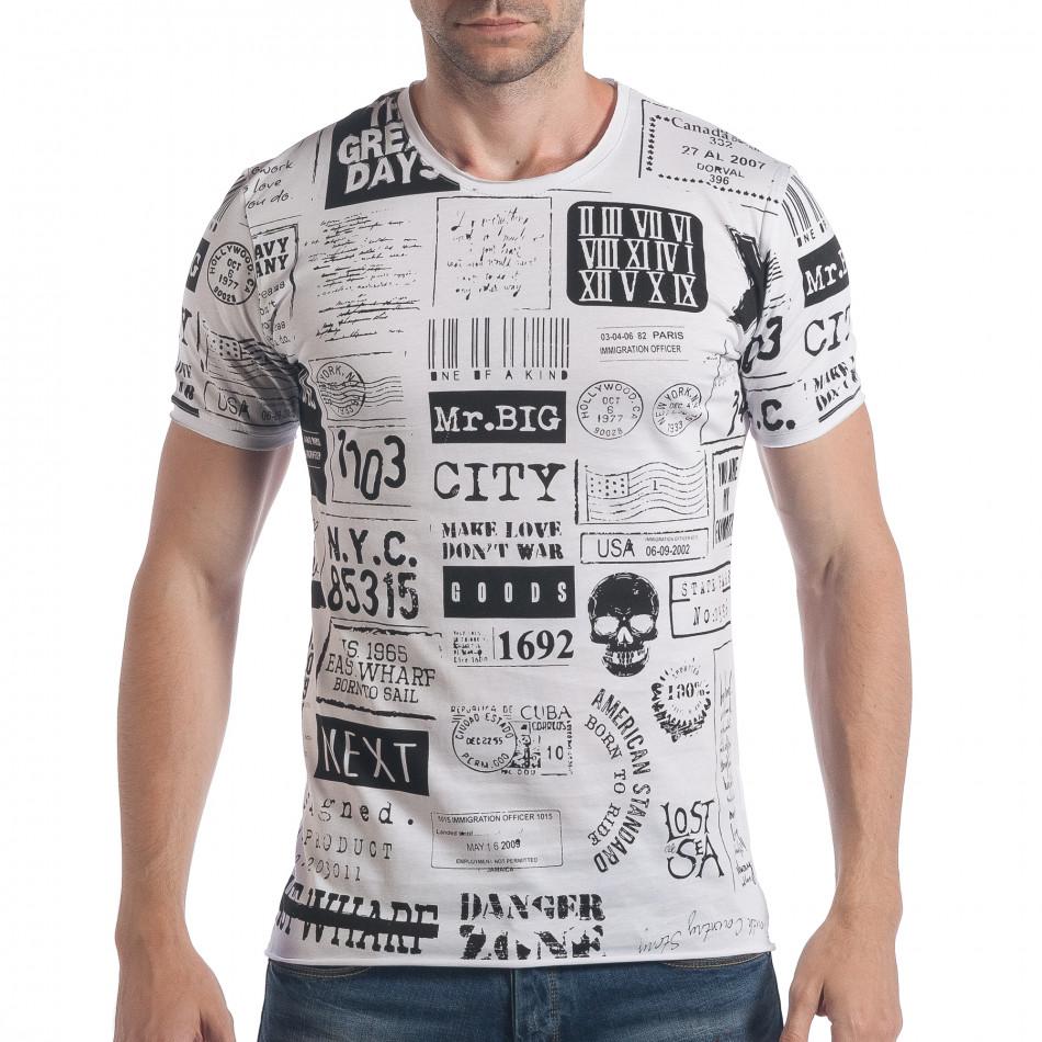 Мъжка бяла тениска с надписи и цифри tsf090617-22