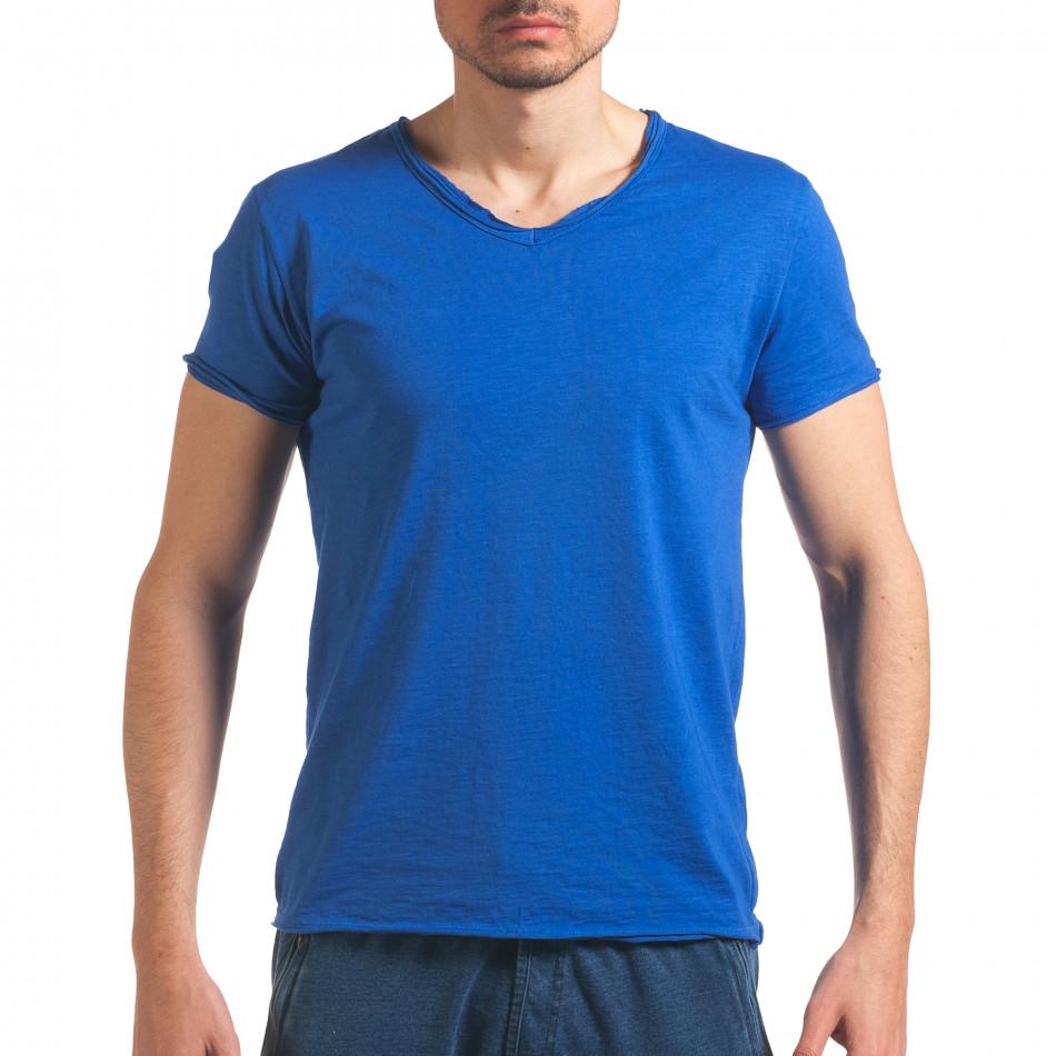 Мъжка синя тениска изчистен модел it260416-47