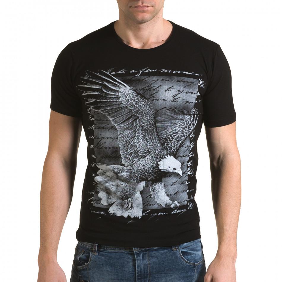 Мъжка черна тениска с принт птица il120216-51