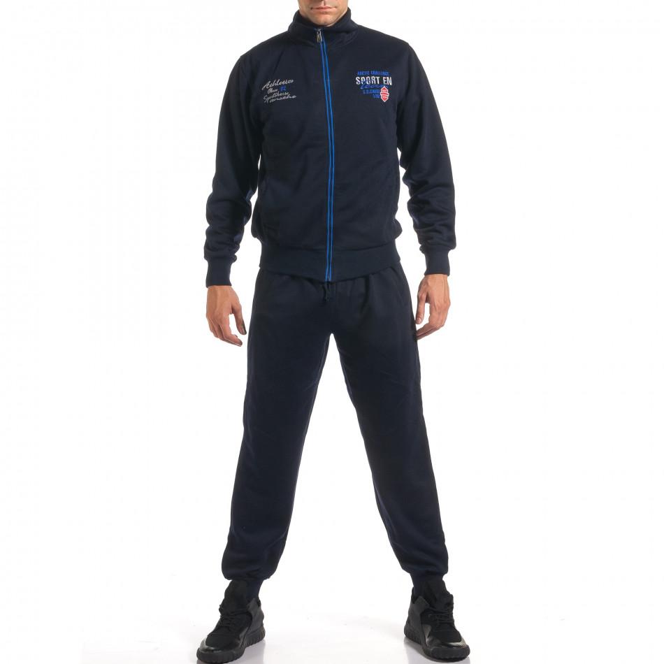 Мъжки син спортен комплект с надписи it160916-74