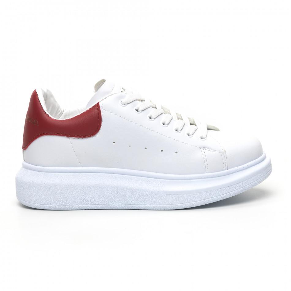 Бели дамски кецове червена пета tr180320-20