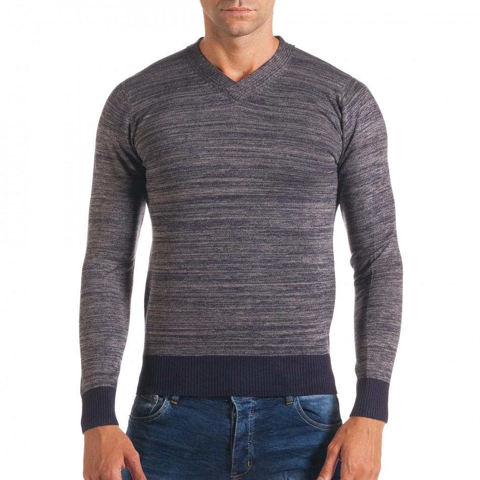 Мъжки синьо-сив пуловер с остро деколте it170816-9