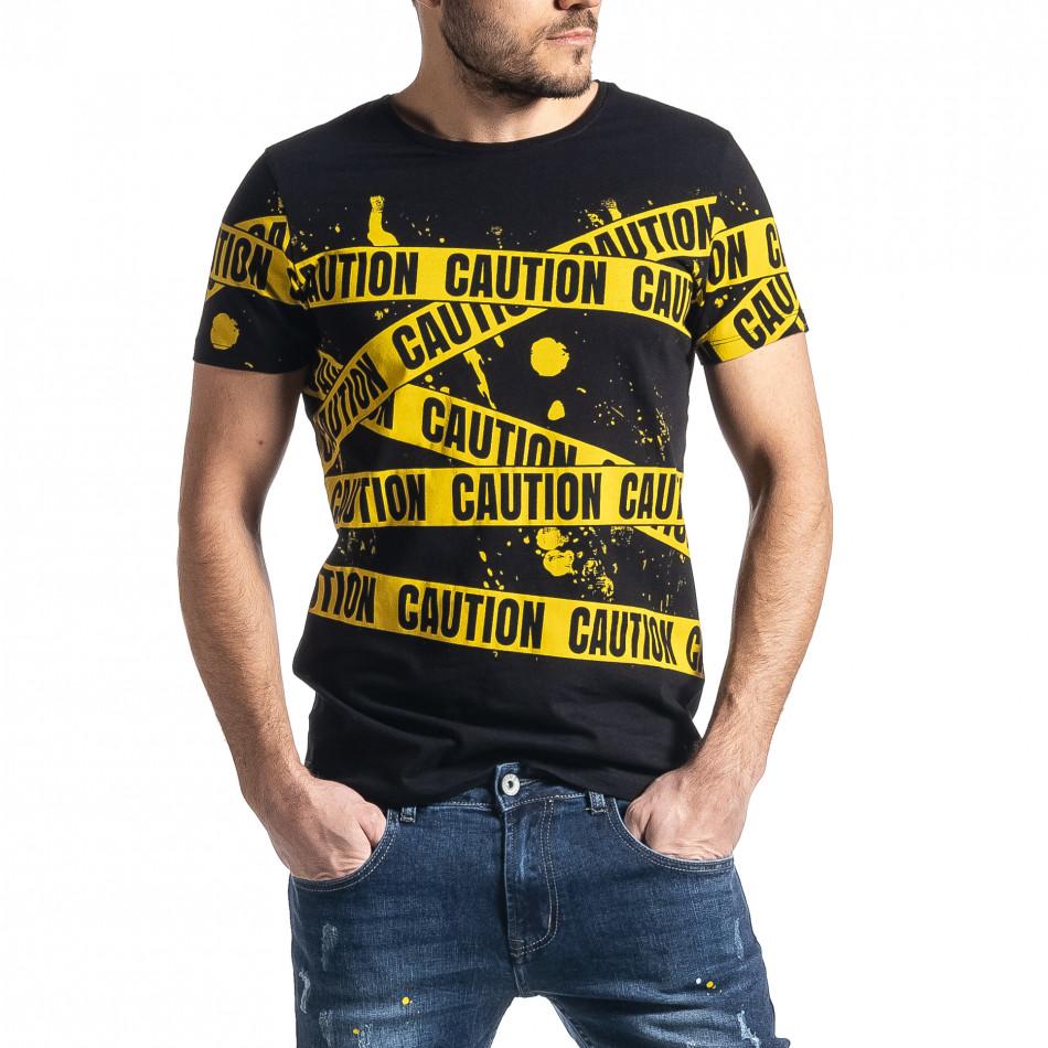 Мъжка тениска Caution в черно и жълто tr010221-11