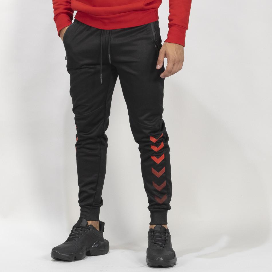Мъжки черен Jogger червени акценти it041019-6