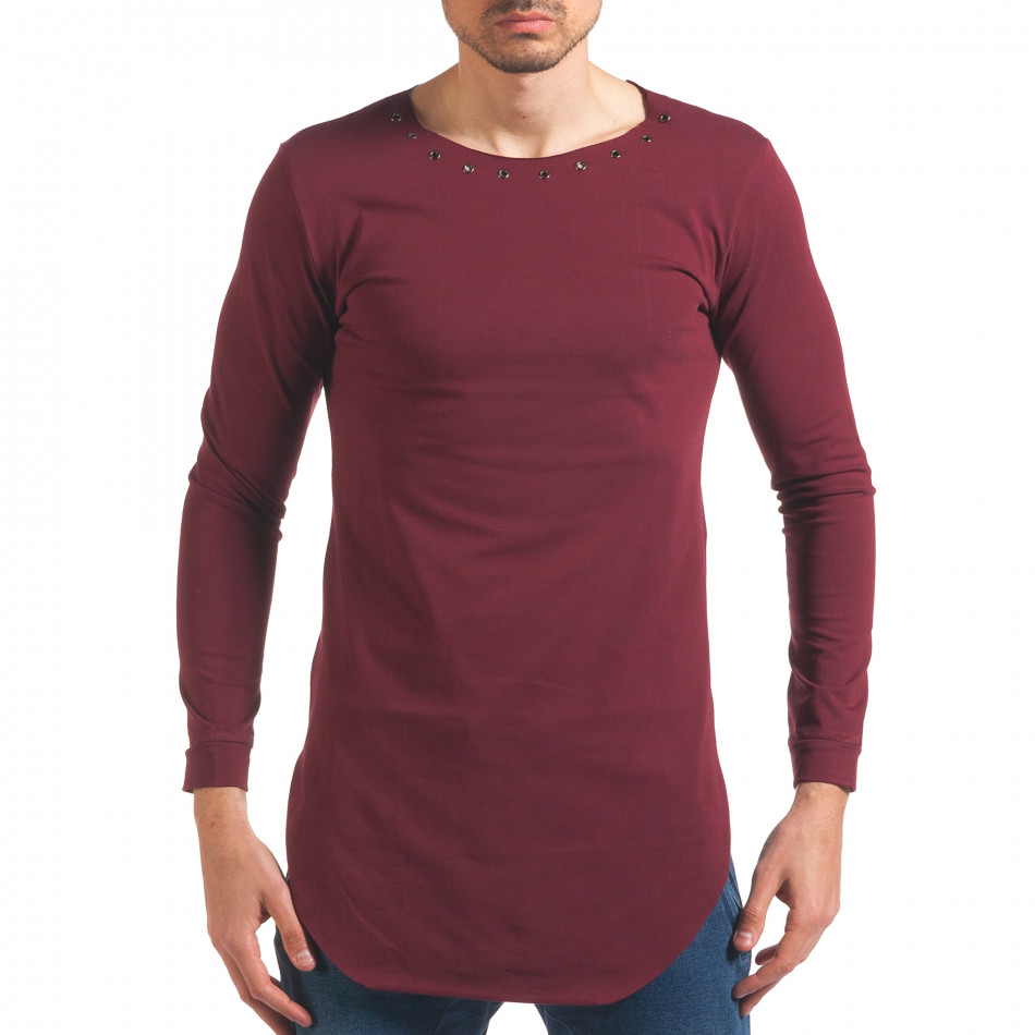 Мъжка червена блуза с дълъг ръкав и метални капси it250416-80