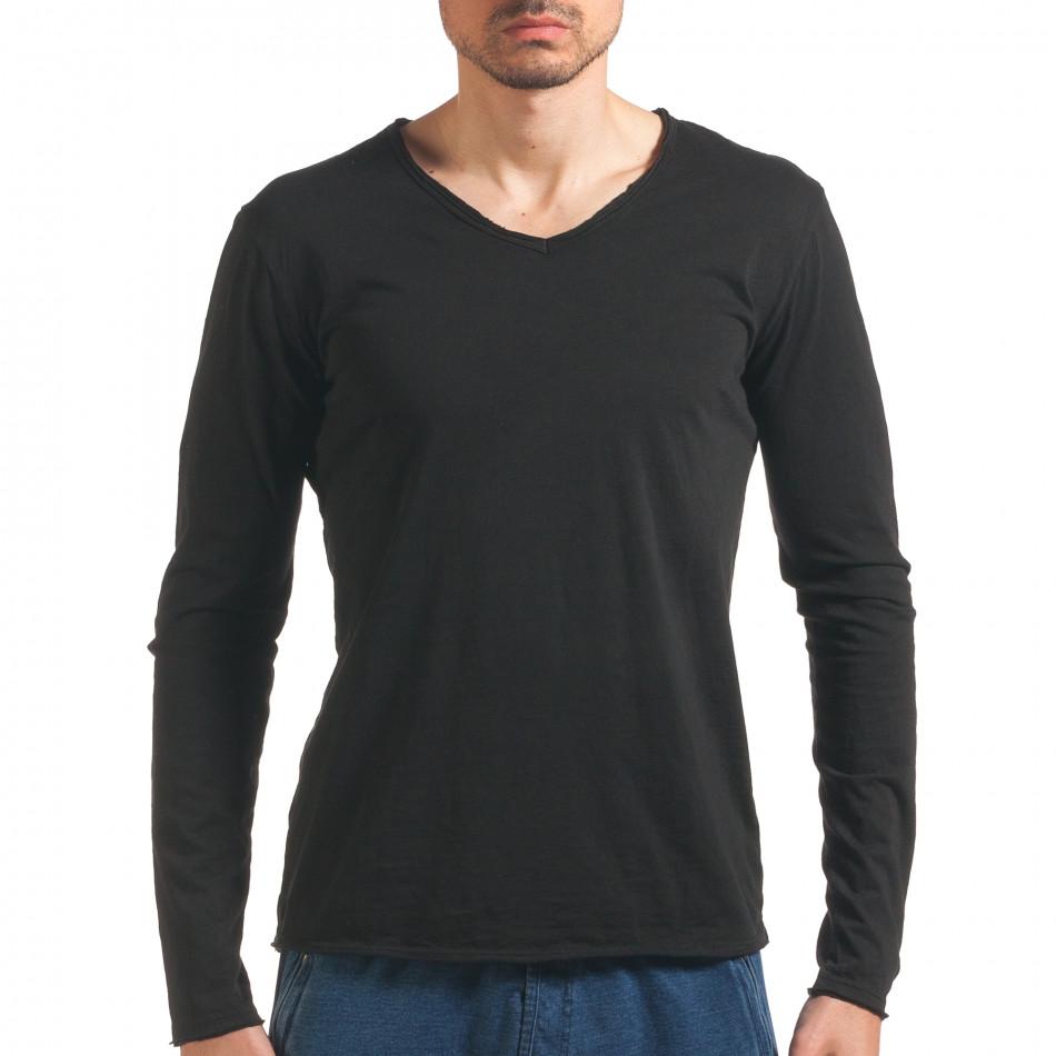 Мъжка черна блуза с дълъг ръкав it260416-49