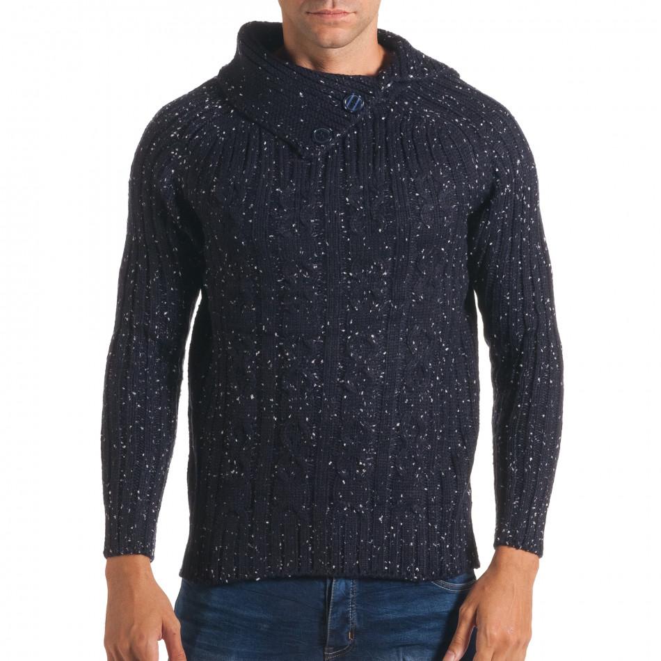 Мъжки син зимен пуловер с малки бели точки it170816-50
