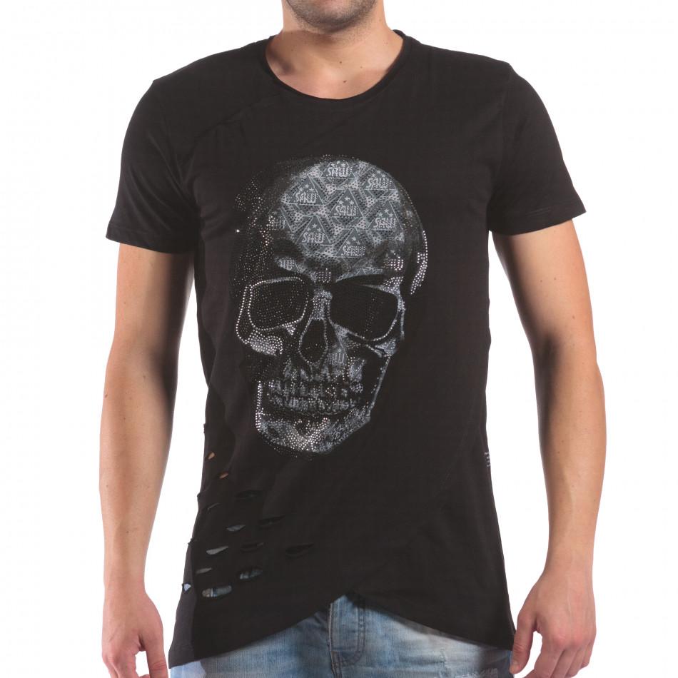 Мъжка черна тениска с череп от камъни il210616-22