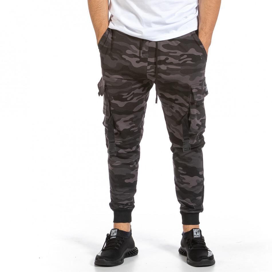 Мъжко Hip Hop долнище сиво-черен камуфлаж it240621-39