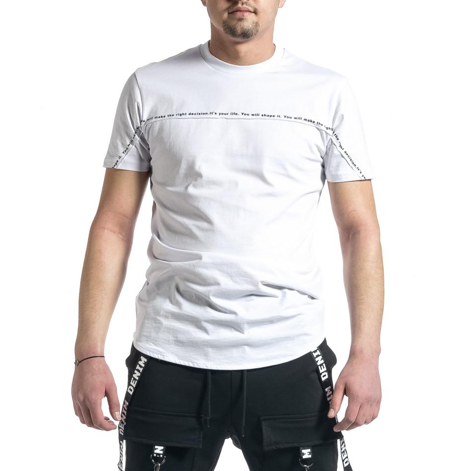 Мъжка бяла тениска с декоративен шев tr270221-40