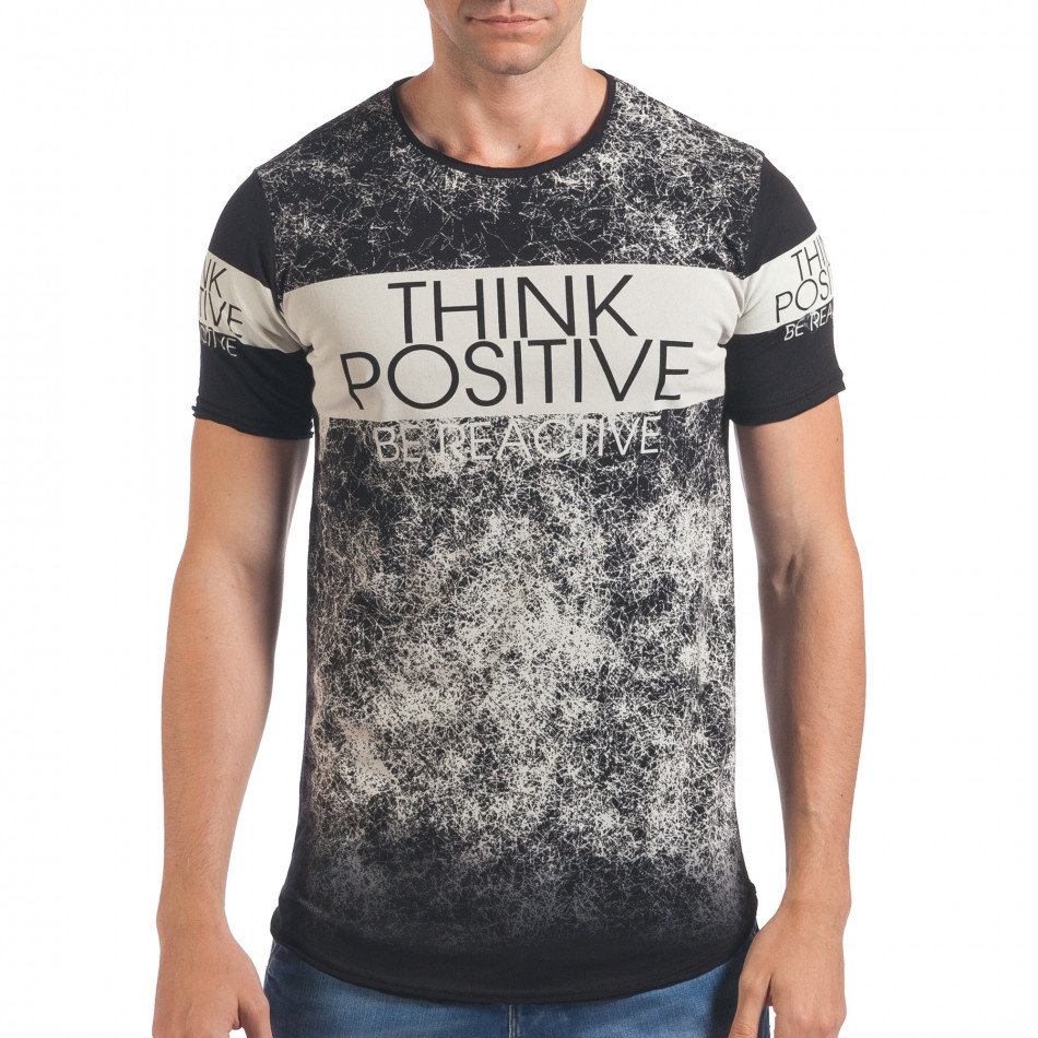 Мъжка черна тениска Think Positive il060616-61
