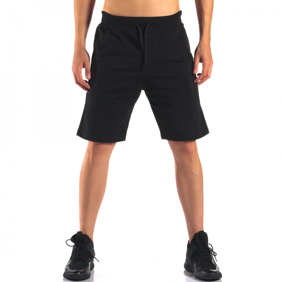 Черни мъжки спортни шорти изчистен модел it160616-11