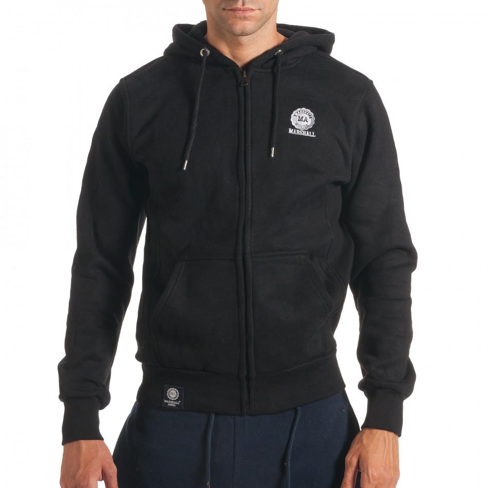 Мъжки черен суичър с малка емблема it240816-28