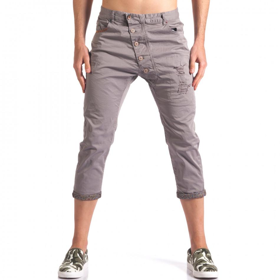Сив мъжки панталон 7/8 тип потури  it250416-27