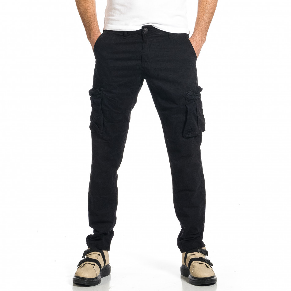 Мъжки черен панталон с прави крачоли & Big Size tr270421-15