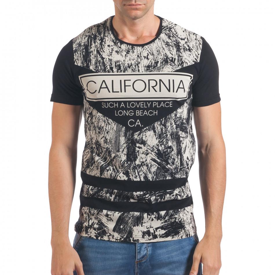 Мъжка черна тениска с надпис California il060616-64