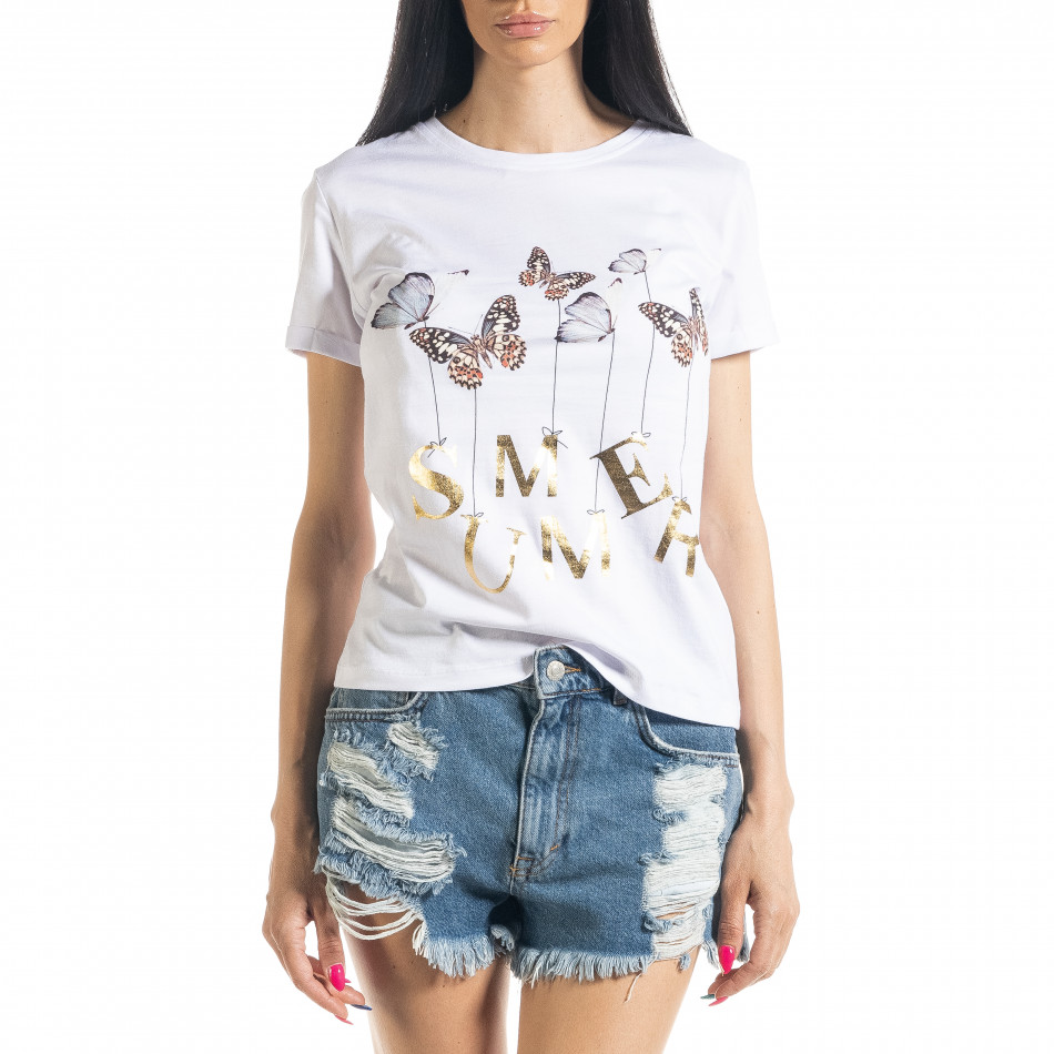 Дамска бяла тениска Summer Butterfly il080620-7