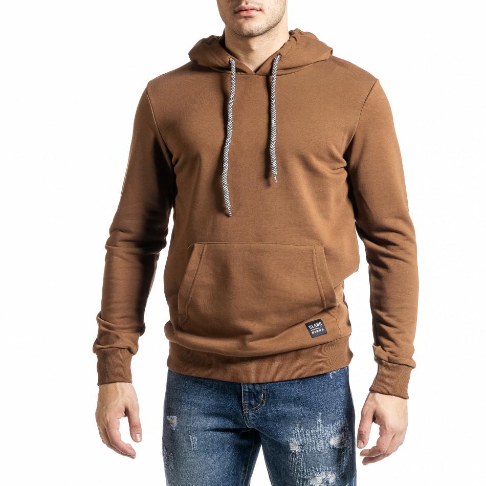 Basic мъжки суичър-анорак цвят камел tr231220-8